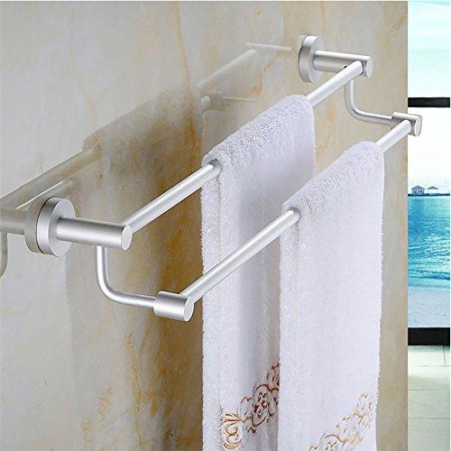 Titular de plata doble barra de toalla montado en la pared de baño toallero de almacenamiento de toallas Estante de aleación de aluminio, 2 Bar (58.5cm)