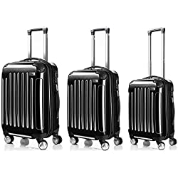 LDUDU ® Equipaje Maleta rígida Maleta con ruedas Maleta de viajes,77 cm,95 litros,4 Ruedas,Negro