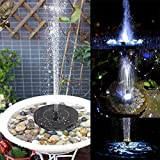 Womdee Solar Bird Bath Fountains Pump, 2.4W Free Standing Solar Powered Water Fountain Pump with 600mAh Battery Backup, 6 LED Night Lights, 4 Spray Water Mode for Bird Bath Garden Pond Pool