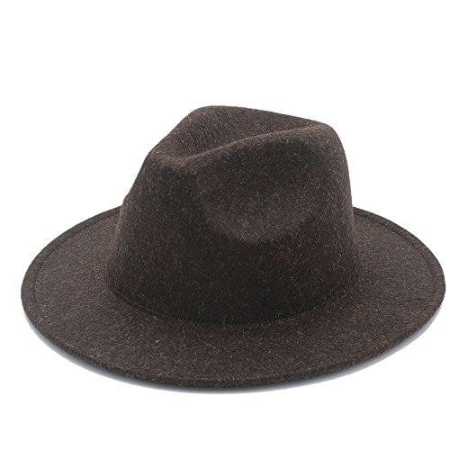 MMD-women's hat Mode Der Fedora-Hut der Retro- Wollhut-Frauen der Männer für Dame Cashmere breiter Rand-Jazz-Kirchen-Kappe Weinlese Panama Sombrero weich (Farbe : 6, Größe : 57-59cm) - Sombrero Panama