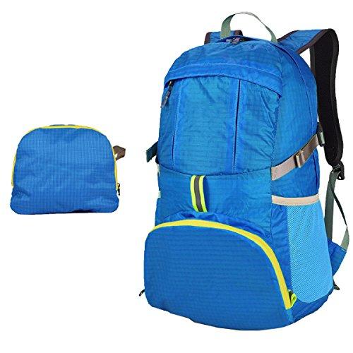 Yy.f35L Sacchetto Esterno Piegatura Borsa Sportiva Pacchetto Pelle Sacchetti Di Spalla Impermeabile Leggero Zaino Versatile Solido. Multicolore Blue