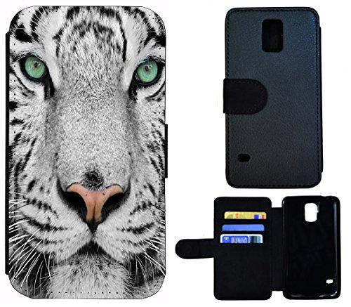 Flip Cover Schutz Hülle Handy Tasche Etui Case für (Apple iPhone 5 / 5s, 1443 Tiger Boot Blau Gelb Abstract) 1440 Weißer Tiger Löwe Wolf Kopf