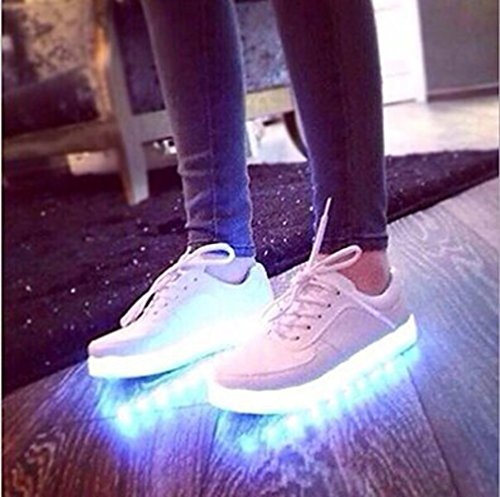 (Présents:petite serviette)JUNGLEST® Femmes Chaussures Athletiques Baskets a Fluorescence Lumineux Lumier Blanc - Blanc