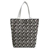 Violetpos Benutzerdefiniert Canvas Handtasche Einkaufstaschen Umhängetasche Schultasche Lunch-Tasche Weiße Gardenie Blume
