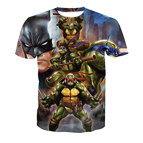 3D T-Shirt Unisex HD Gedrucktes Rundhalsausschnitt Lässig Mit Print Kurzarm Top Teenage Mutant Ninja Turtles S (Teenage Mutant Turtles Kleidung Ninja)