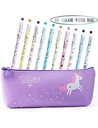 Aperil Lot de 10 stylos Licorne pour Filles Cadeau d'anniversaire Cadeau d'anniversaire Motif Licorne Mignon Stylos à Bille écriture Lisse Noir Encre pour Enfants Filles 3 4 5 6 7 8 9 10 Ans