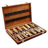 12PCS Set di scalpelli per intaglio del legno Tagliente affilato Utensili per coltelli a mano sgorbie Acciaio fai da te Intaglio in legno Lavoro professionale (65#) B