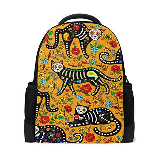 Karikatur-Katzen-Skelett-Blumen-bunter Rucksack vervollkommnen für Schulreise-Kindertagesstätte für jugendlich Jungen-Mädchen ()