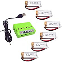 Wwman 6PCS 3.7V 500mAh Batterie und 1to6 Aufladeeinheit für JJRC H43WH H37 H6D H6C H31 F180C JXD392 388 Wltoys V939 V252 RC quadcopter Drone Ersatzteile