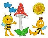 Unbekannt 6 tlg. Set: Wandbild / Wandtattoo / Türschild - die Biene Maja mit Pilz - aus Holz - selbstklebend - Kinderzimmer Deko Bilder / Aufkleber Wandsticker Wanddeko