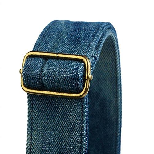 Chang Spent borsa a tracolla borsa della cartella del petto casuale denim della benna delle donne , blue Blue