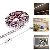 Viugreum Striscia LED 2M USB,Striscia di luci a LED, per armadi nastri a Led dimmerabile autoadesiva, illuminazione per ripiani, vetrina, cucina, bianco freddo