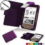 Forefront Cases® Tolino Page Shell Hülle Schutzhülle Tasche Bumper Folio Smart Case Cover Stand mit LED Licht - Leicht mit Rundum-Geräteschutz inkl. Eingabestift (Violett)