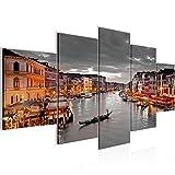 Bilder Venedig Italien Wandbild 200 x 100 cm Vlies - Leinwand Bild XXL Format Wandbilder Wohnzimmer Wohnung Deko Kunstdrucke Braun 5 Teilig - MADE IN GERMANY - Fertig zum Aufhängen 604351b