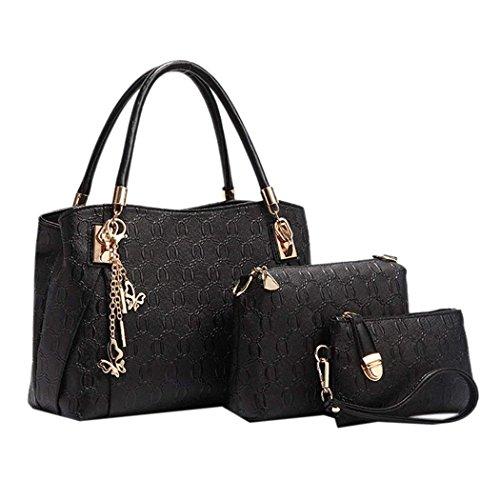 Handtaschen Damen,Coofit Damen Handtasche Frauen Leder Handtasche Henkeltasche Schultertasche Umhängetasche Messenger Bag (Black)