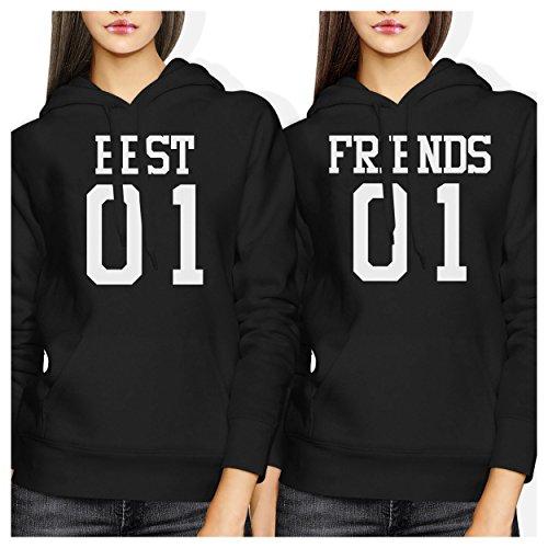 *LOVE TO LOVE Damen Kapuzenpullover schwarz schwarz One size Gr. Verbindungen-M/Recht-S, Best 01 Friend 01 BFF Hoodies*