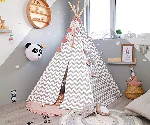 Tiny land tenda bambini teepee per ragazzi 1 5 m grigio chevron