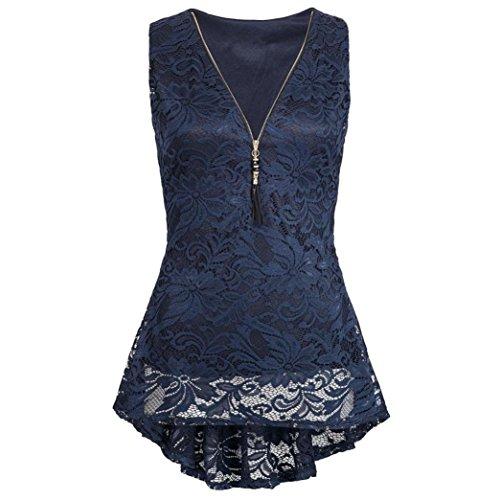 iHENGH Damen Zip Up Floral Lace Tank Top ärmellose dünne Weste Pure T-Shirts(Medium,Marine)