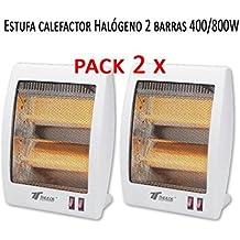 Estufa 2 tubos de cuarzo 400/800W Calefactor Calentador Radiador Halogeno Calor. Sistema de