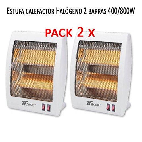 Estufa 2 tubos de cuarzo 400/800W Calefactor Calentador Radiador Halogeno Calor. Sistema de seguridad contra caídas. (Pack de 2 calefactores)