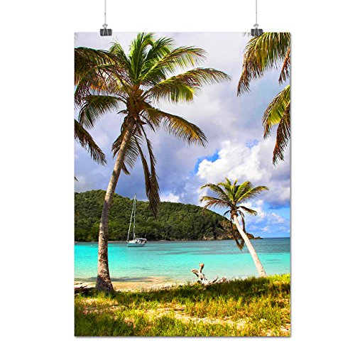 sunny-sea-beach-ocean-palm-tree-matte-glossy-poster-a1-84cm-x-60cm-wellcoda