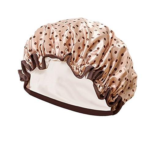 TININNA Mode Femmes Polka Dots Bonnet De Douche Elastic Band Shower Cap Protection Soin Accessoire Cheveux Marron Clair