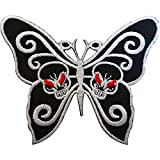Mariposas de calavera bordado parche insignia hierro Sew en la ropa bolsas fangbanger Punk Rock