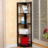MOOMDDY Wohnzimmer-Schlafzimmer-Eckrahmen Eck-Bücherregal-Bodenregal Fünfschichtigen Runden Rahmen TV-Wandregal,Black