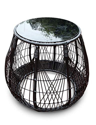 Table de Rangement en rotin/Petite Table Basse pour Balcon, Plateau en Verre trempé, Convient à l'extérieur, Salon, Balcon, Rond, Noir