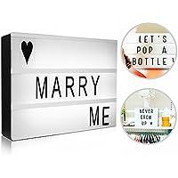 Scatola Luminosa, innislink Light Box Luce Box con Led Cinematic Lettere Light Box A4 con 191 Flessibile Lettere Emoji, Faccine e Simboli per Matrimonio Casa Foto Festa Anniversari Natale