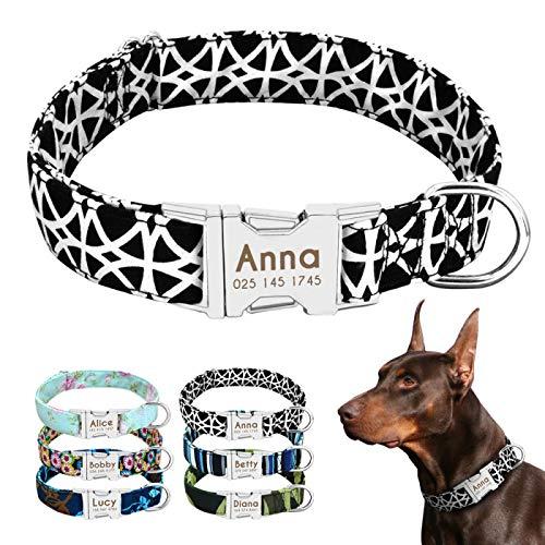 ellbares Hundehalsband mit Schnalle Tribal Pattern Typenschild ID-Halsbänder einstellbar für mittelgroße Hunde ()