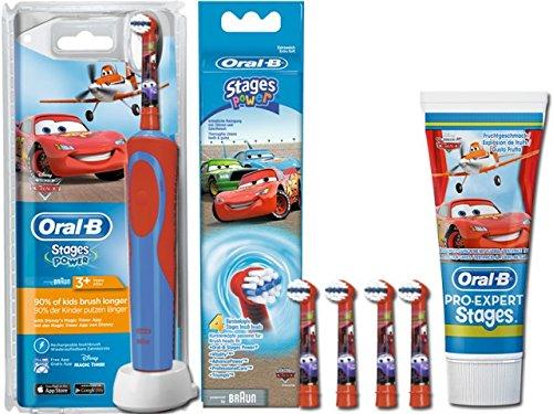 SPAR-SET: 1 Braun Oral-B Stages Power Kids 900 TX elektrische Akku-Zahnbuerste Kinder 3+ J. D12.513.K Disney Pixar Cars & Planes + 2er Stages Aufsteckbürsten + 75 ml Oral-B PRO-EXPERT Stages Kinderzahncreme CARS -
