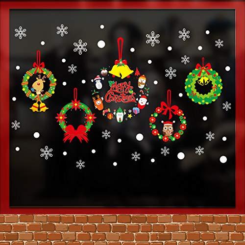VHVCX Weihnachtskranz Dekoration Weihnachtskranz Glasschmuck Glueless Static Aufkleber Aufkleber Farbe Weihnachtsdekoration Urlaub Schmuck Schmuck Aufkleber