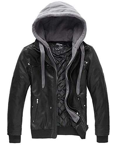 Wantdo Homme Veste Manteau Pas Cher Chaud Cuir Qualité - XL Noir épais