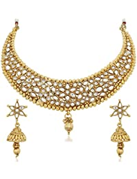 Apara Glittering Golden Necklace Set With Austrian Diamond For Women