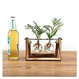 GZQ Glas Vase Blumen Pflanztopf Hydrokultur Terrarium Container mit Holzrahmen Home Coffee Shop Raum Tisch Decor, Holz, M/2 Bottle