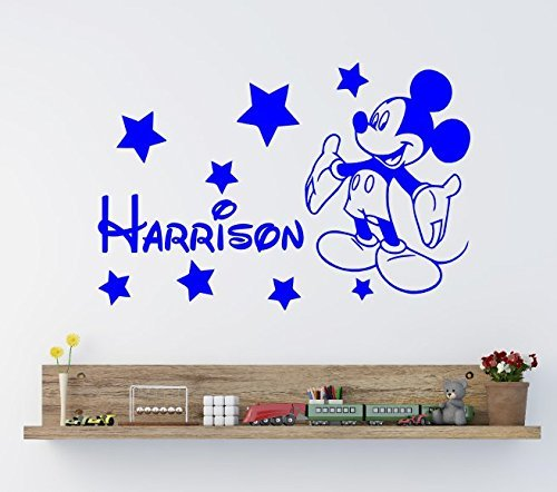 Personalised MICKEY MOUSE Vinyl Wall Art Sticker   *ANY NAME*   Mm1 **UK  SELLER** (X Lrg   100 X 60 Cm)