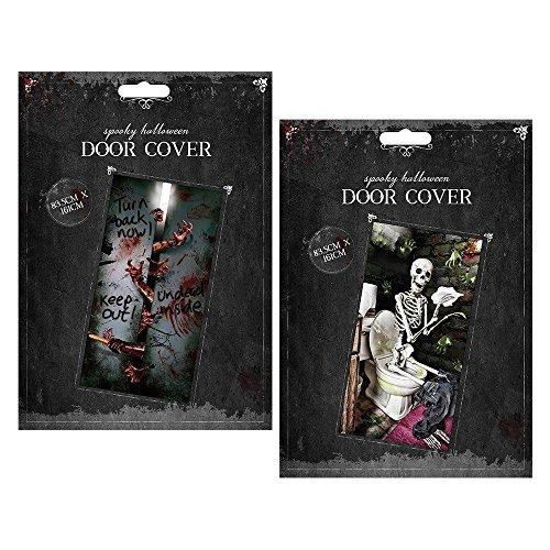 (Halloween Spooky Tür Cover Skelett Undead Innen ACHTUNG Creepy Scary Aufkleber Tapete Party Scene Setter Dekoration Wandbild Aufkleber Decor Gothic WC HOME Shop Büro)
