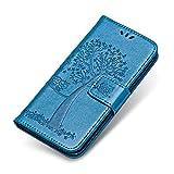 Funda iPhone 6 Plus / 6s Plus, The Grafu Billetera Magnético Cuero [Protector de Pantalla de Vidrio Templado Gratis] [Ranuras para Tarjetas] Funda para Apple iPhone 6 Plus / 6s Plus, Azul