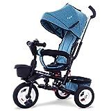 Bébé Tricycle Vélo pour Enfant De 10 Mois à 6 Ans, Réversible Pliable Poussette, Chariot à Trois Roues, Embrayage De La Roue Avant,Blue