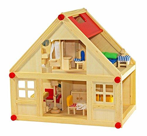 FREDA Puppenhaus + Möbel 28 Teile + Hussen + Wiege + Familie mit Wechselkleider + Baby Komplettset aus Holz