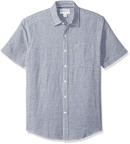 Amazon Essentials Slim-Fit Short-Sleeve Stripe Linen button-down-shirts, Navy Gingham, US M (EU M) -