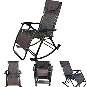 """""""Amaze"""" folding portable zero gravity compact easy push back rocking oscillating reclining designer relax chair- BROWN FLOWERS"""