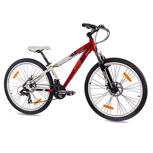"51X1gFvoCRL. SS500  - 26"" DIRT BIKE MOUNTAIN BIKE EDGE ALLOY 21 speed Shimano white red - (26 inch)"