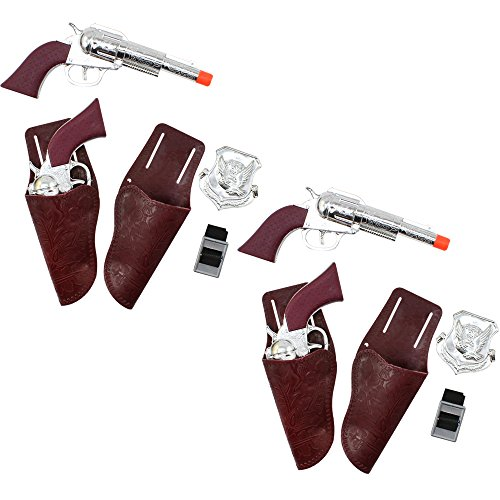 (COM-FOUR® 12-teiliges Cowboy-Set mit Pistolen, Holstern, Marken und Gürteln)
