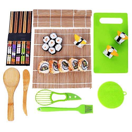 YZEO - Kit Completo para Hacer Sushi de 11 Piezas, Juego de Sushi de bambú para Hacer kimbap