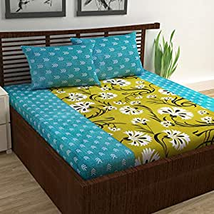 Divine Casa Cotton 144 TC Bedsheet and Pillow Cover, Double - Bedsheet, Turquoise, Yellow, 1 Bedsheet with 2 Pillow Cover