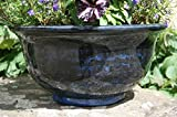 Stunning Aegean bowl patio planter pot. 40cm wide. Midnight Blue