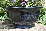 Stunning Aegean bowl patio planter pot. 40cm wide. Midnight Blue