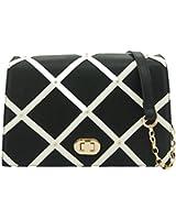 Ladies LYDC Blackhazel Grid Shoulder HandBag Check Patterned Satchel Messenger Crossbody Chain Bag